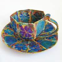 Tea Cup and Saucer Free Machine Embroidery Textile Art Colourful Hand Dyed