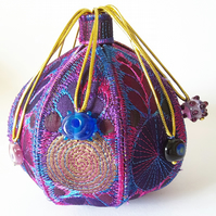 Textile Treasure Pod Free Machine Embroidery Vibrant Colourful Hand Dyed