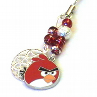 red Angry Bird charm for phone , bags , zip , pencil case  , car