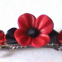 Lovely hair grip with a red POPPY flower glass crystal bead  ,  handmade