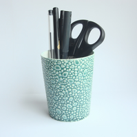 Textured Green Pen Holder  Beaker