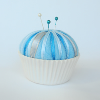 Light Blue Ceramic Cupcake Pin Cushion