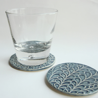 REDUCED - Set of 2 blue ceramic textured coasters - INC P&P