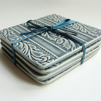 Set of 4 Blue Flock Patterned Coasters