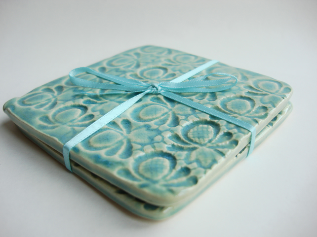 REDUCED - Set of 2 green ceramic textured coasters - INC P&P