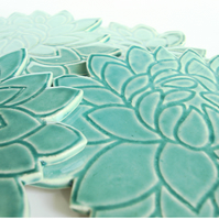 Flower Shape Ceramic Coasters (set of 4)