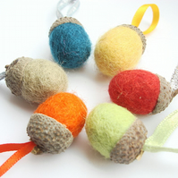 Set of 6 Felt Acorns - Greens, Red, Orange, Yellow and Brown