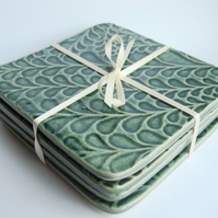 Textured Green Ceramic Coasters  - set of 4