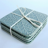 Set of 4 green ceramic textured coasters