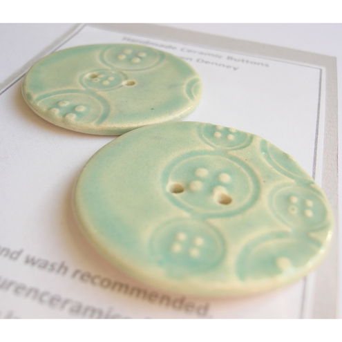 Textured Green Ceramic Buttons