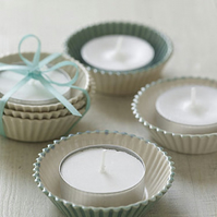 Green and White Ceramic Cup Cake Candle Holders
