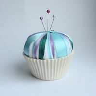 Handmade Ceramic Cupcake Pin Cushion