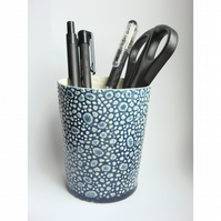 Textured Blue Pen Holder / Beaker