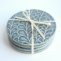 Set of 4 blue ceramic textured coasters
