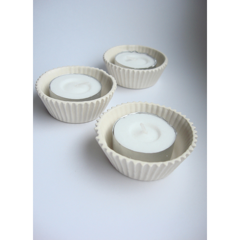 White Ceramic Cup Cake Candle Holders Folksy