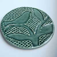 INC P&P  - Set of 4 green ceramic bird textured coasters