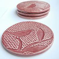 INC P&P  - Set of 4 cherry red ceramic textured coasters
