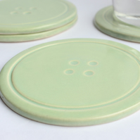 INC P&P - Set of 4 Green Ceramic Button Coasters