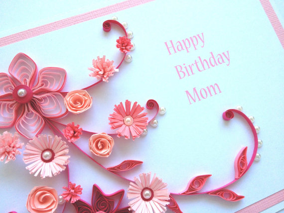 Pink Handmade Quilled Paper Birthday Card Flow