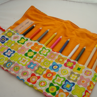 SALE! Funky pencil roll with pencils etc.