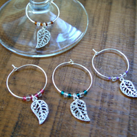 Filigree leaf wineglass charms