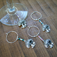 Toadstool wine glass charms