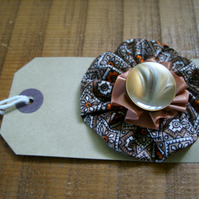 HANDMADE FABRIC CORSAGE BROWNS & CREAMS