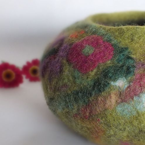 Felt Wool Bowl Spring Flowers