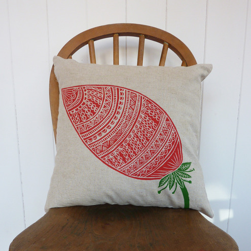 Square Linen Cushion Cover with Red flower bud