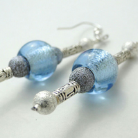 Pair of Baby Blue Glass & Beaded Earrings (023)
