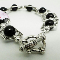 Black and Silver Bangle Bracelet (008)