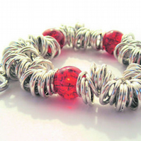 Sweetie Bracelet - Red Crackle Beads (013)