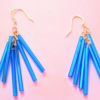 Blue Glass tube Earrings (014)