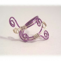 Purple and Silver Wire Wrap Ring