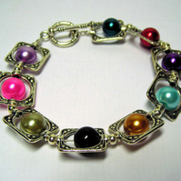 Multi Coloured and  Silver Bangle Bracelet