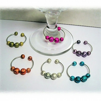 Set 6 Colourful Wine Glass Charms
