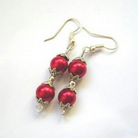 Double Red Glass Pearl Bead Earrings in Box