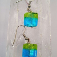 Pair Blue and Green 1cm x 1cm Square Glass Earrings