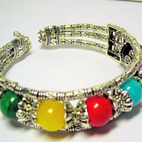 Multi Coloured Beaded Bangle