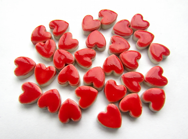 30 ceramic red heart mosaic tiles ,shapes