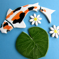koi carp, lily pad and flowers ceramic mosaic tiles shapes