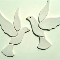 2 ceramic doves, birds handmade mosaic shape tiles