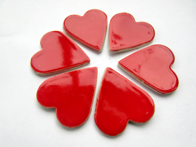 mosaic heart shape tiles, 6 x large hearts valentines mosaic