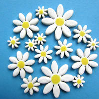15 white daisy mosaic tiles handmade ceramic flowers
