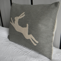 Handprinted greys logo hare cushion