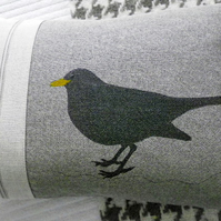 hand printed black bird cushion