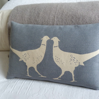 hand printed muted blue kissing pheasant cushion
