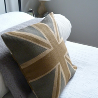 handprinted rustic browns hessian union jack flag cushion