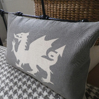 hand printed muted greys dragon cushion