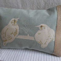 hand printed classic bird cushion
